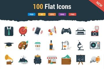 100 Flat Icons