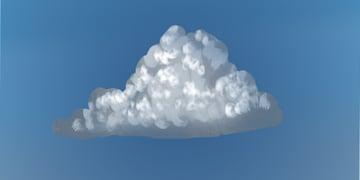 Paint white peaks onto the cloud
