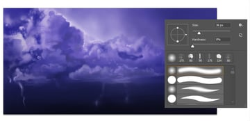 Use a softer brush for the clouds
