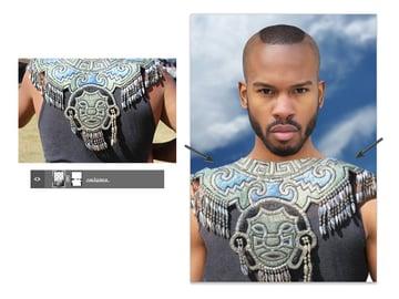 Add the aztec neck piece