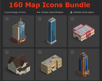 Isometric Map Icons Bundle