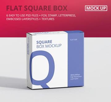 Flat Square Box Mockup