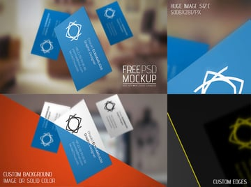Flying Business Card Mockup