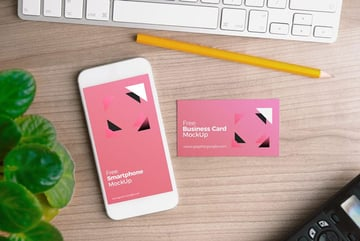 iPhone with Business Card Mockup