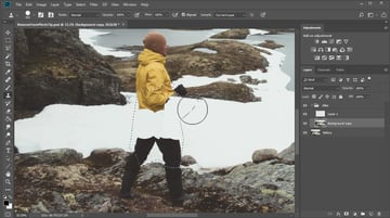 Remove a person with the stamp tool in Photoshop