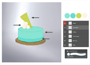 Paint flat colors for the cake