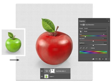 Change colors in Photoshop with Hue and Saturation