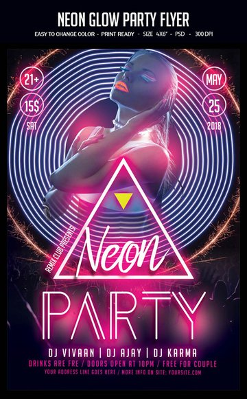 Neon Glow Party Flyer