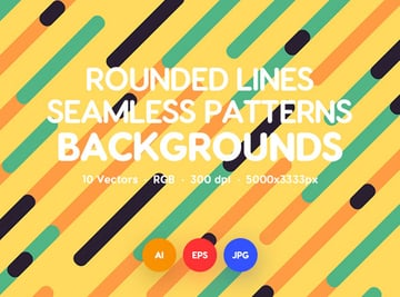 Diagonal Rounded Lines Seamless Patterns