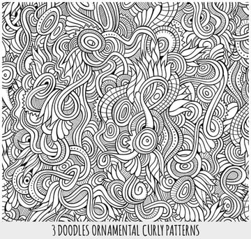 3 Line Art Fantasy Seamless Patterns