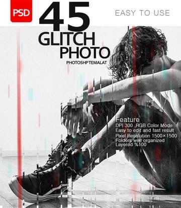 45 Glitch Effect Photo Template