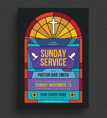 Sunday Service Church Event Flyer