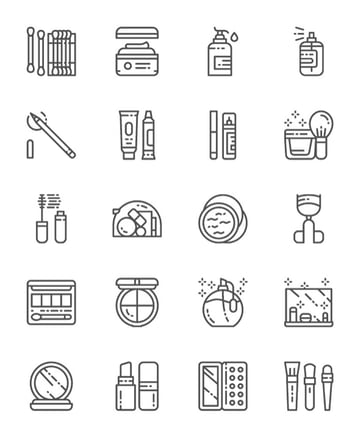 Makeup and Cosmetics Line Icons