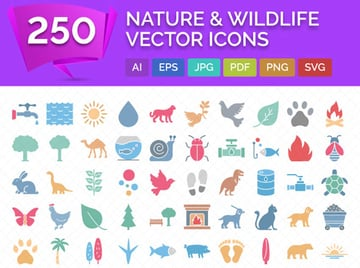 250 Nature  Wildlife Vector Icons