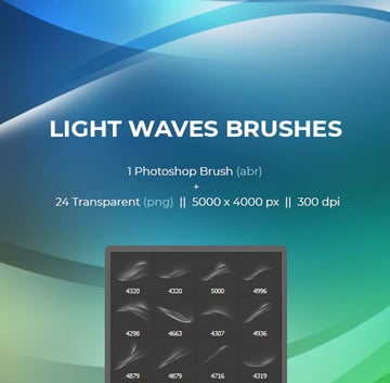 Abstract Light Waves Photoshop Brush