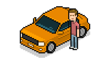 Isometric pixel art car with character next to it