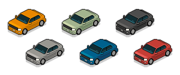 Finished isometric pixel art car in 6 different colors