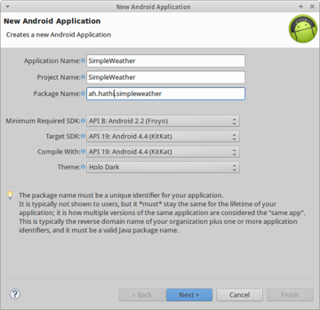 Create a new Android Application