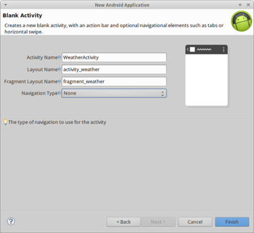 The Activity details screen