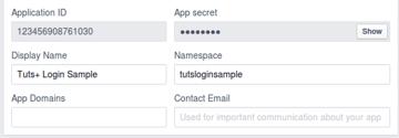 App ID and app secret