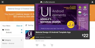Material Design UI Android Template App on CodeCanyon