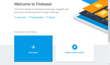Welcome screen of Firebase console