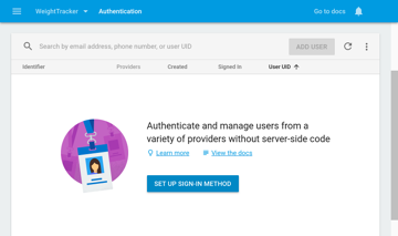 Firebase Authentication home screen