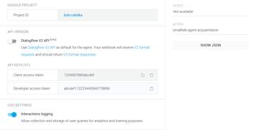 API keys section
