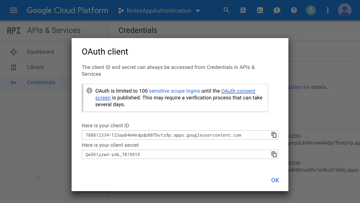 Popup showing client ID and client secret