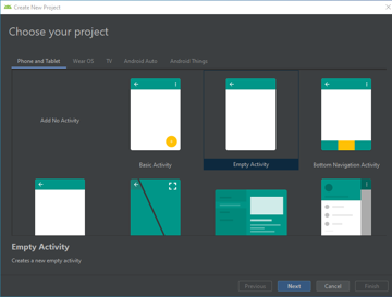 Choosing a project template