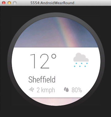 A weather notification card on the Android Wear platform