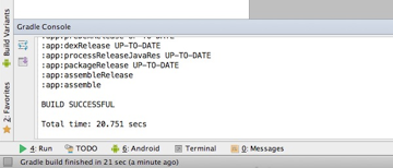 Example of the assemble task output in the Gradle Console