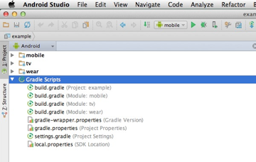 Example of how the Gradle Scripts folder looks for a multiple module project