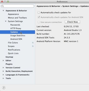 In the Preferences window open the Appearance  Behaviour menu then expand System settings and click Updates