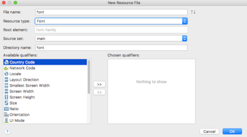 Create a resfont folder in Android Studio