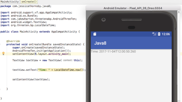 Display the date and time using the ThreeTen Android Backport library