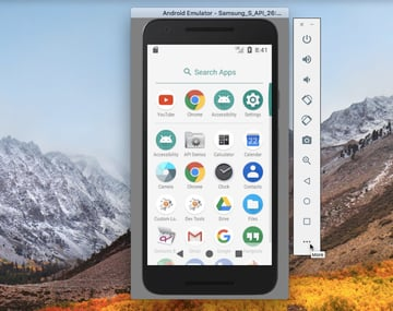 Select the More button in your Android Virtual Device AVD