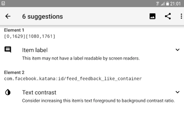 View the suggested changes for your app by tapping Accessibility Scanners List icon