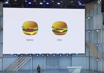 Google CEO Sundar Pichai unveils Googles new and improved burger emoji