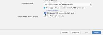 When creating a project make sure you select the following checkbox This project will support instant apps