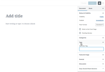Every time you create a new WordPress post youll have the option to Add New Tag