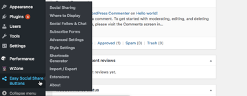 Select Easy Social Share from WordPress left-hand menu