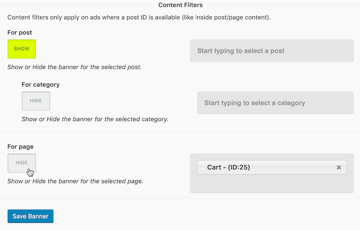 Ban your advert from named WordPress posts and pages