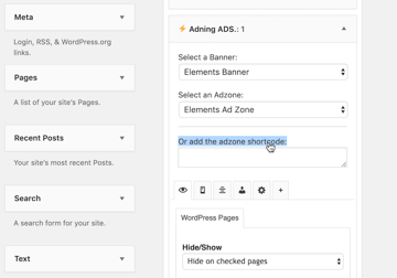 Copypaste your adverts shortcode into the Add the adzone shortcode section