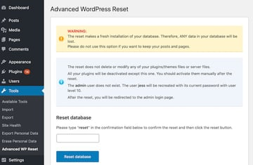 You can quickly and easily reset your WordPress website using the Advanced MP Reset plugin