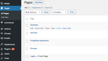 You can duplicate any page or post by hovering over it in the WordPress Dashboard and then selecting either Clone or New Draft