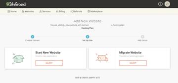 Start New Website in SiteGround