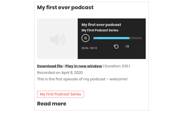 Podcast page with integrated media player