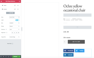 You can add social sharing buttons to your product listing using the Share Buttons widget