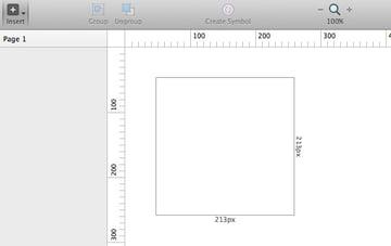Sketch mostrará valores de altura y anchura mientras creamos un artboard